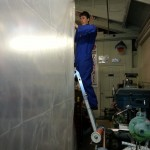 Charlie making paint booth walls